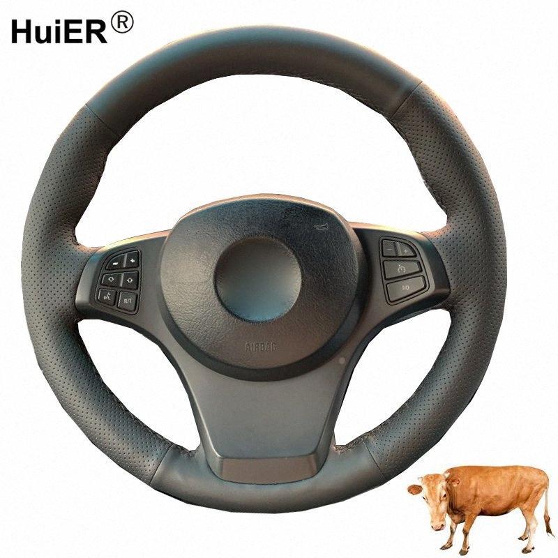 Steering cucire a mano dell'automobile della copertura di rotella mucca di strato superiore del cuoio Funda Volante Per E83 X3 2003 2009 2010 E53 X5 2004 2005 2006 sn1v #