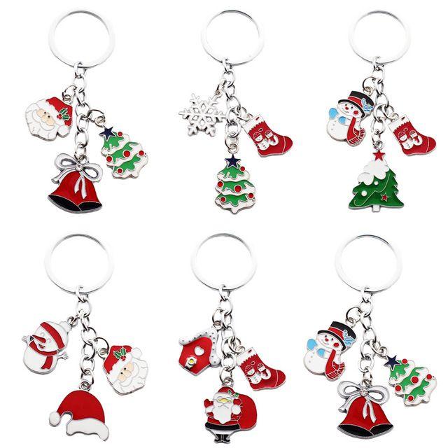 Weihnachtsgeschenk Keychain Metallhalter Weihnachtsmann-Taschen-Charme Bell-Weihnachtsbaum Auto-Schlüsselketten-Ring-Schneeflocke Tieranhänger für Studentenförderung