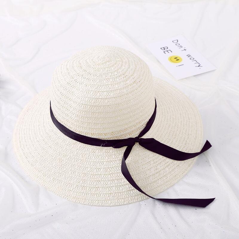 jiangxihuitian أزياء الصيف سترو كاب المرأة طوي السيدات على نطاق واسع كبير بريم الشريط bowBeach الإناث أحد قبعة MV71