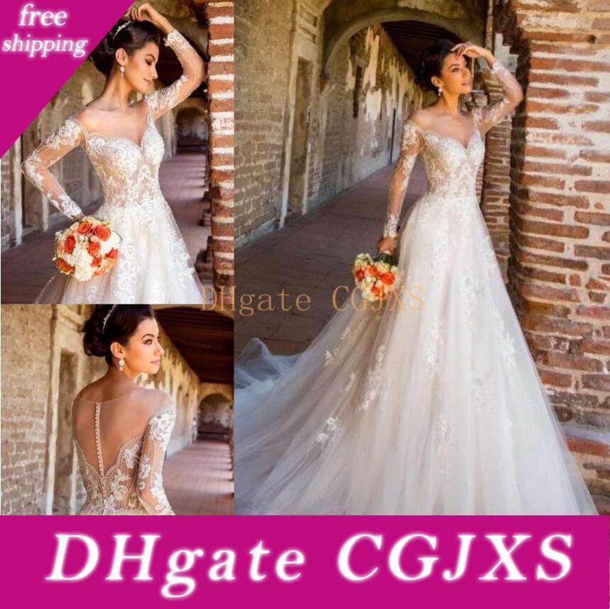 Kitty Chen Vestidos 2019 do casamento de praia Jewel Sheer Long Neck Sleeve Lace Appliqued Beads vestidos de noiva Trem da varredura Tulle A Linha de Vestido de Noiva