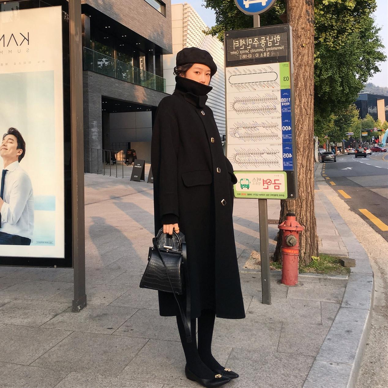 Rlbdj QgjMk Schwarze Wolle Wolle verdickte Wollmantel für Frauen 2020 Frühling Overknee Herbst der neuen koreanischen Stil Hepburn mittlerer Länge und Schlankheits Wolle