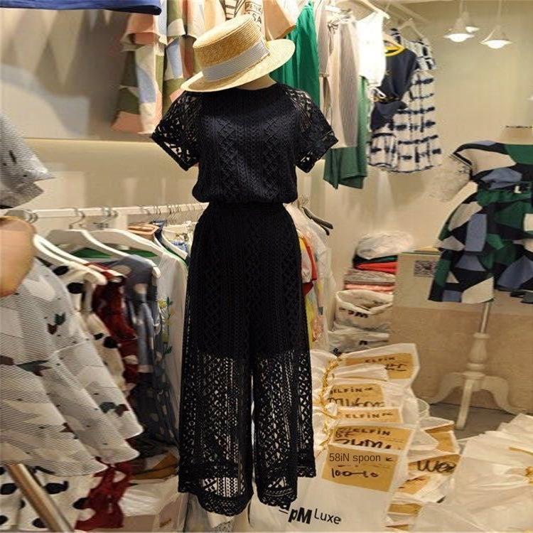 gjwzN vestito casuale coreana 2020 estate pantaloni maglia pizzo nero delle donne pantaloni larghi del piedino top pantaloni a gamba larga superiore a due pezzi manica corta