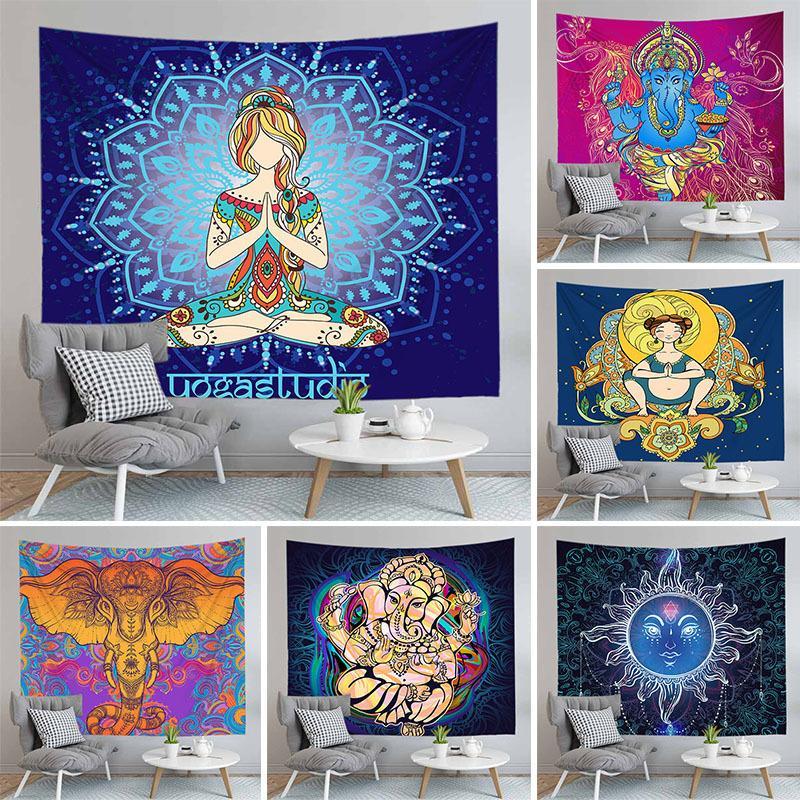 Indien Mandala Tapisserie Wandbehang Sun Elefant Walls Wandteppiche Teppich Psychedelische Tapiz Hexerei Home Decoration