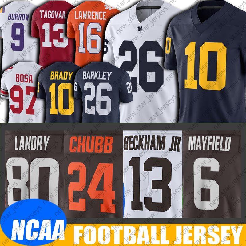 NCAA Michigan Tom Brady Saquon Barkley Jersey 8-16 Baker Mayfield Jersey Nick Chubb Jerseys Odell Beckham Jr. Jarvis Landry Jersey FDADFG