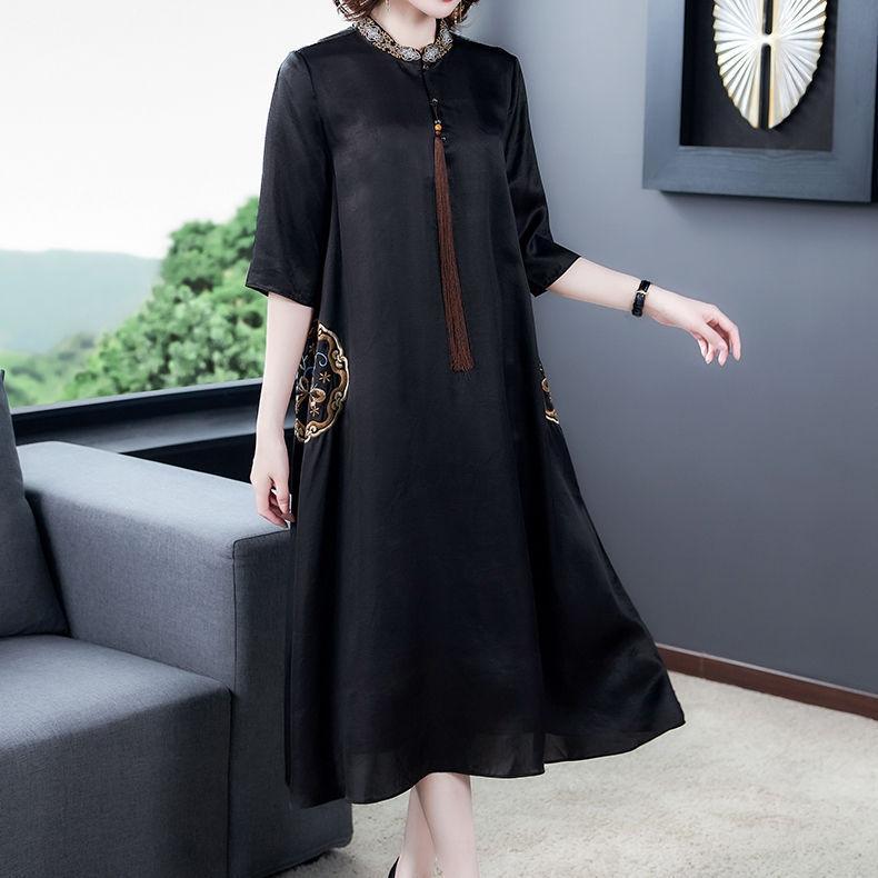 SElLr 40-year-old seta estate vestito ricamato della madre manica ritagliata della seta di gelso ha ricamato il vestito di lunghezza media 2020 delle donne nuove