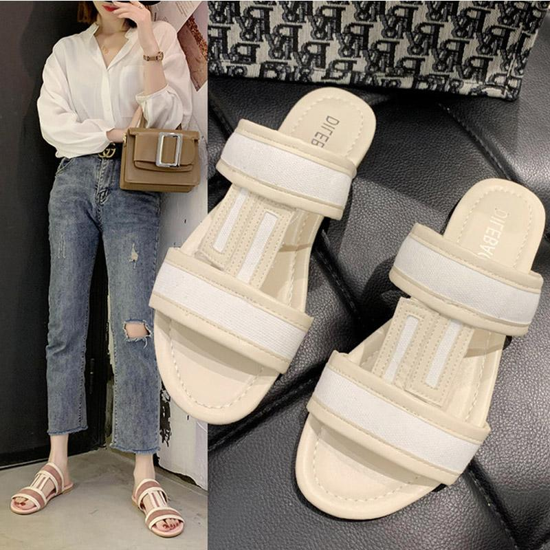 Fashion Women's Slides Summer New Leisure PU Slippers Outside Shopping Sandals Female Beach Flip Flops 2020