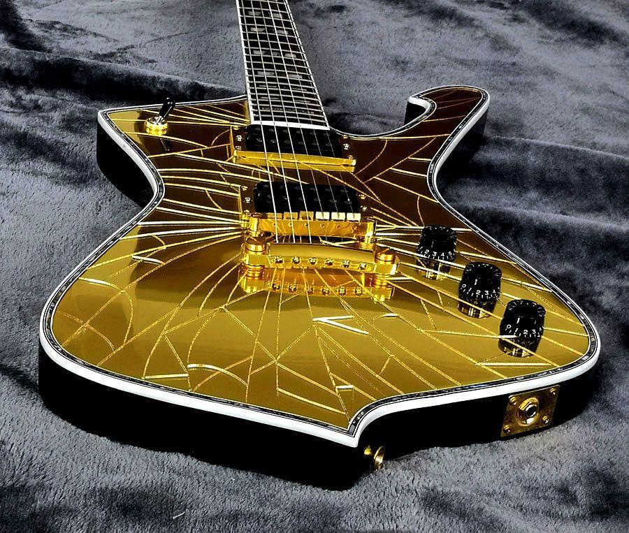 Пользовательские фиолетовые зеркало трещины гитара Iceman Paul PS2CM Stanley Purple Gold Recrited зеркало Электрическая гитара Pickguard