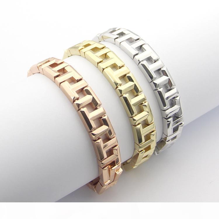Inoxidável 316L Bangle Womens Aço Casal T Letter Pulseira 18 centímetros rosa banhado a ouro de titânio pulseiras de aço