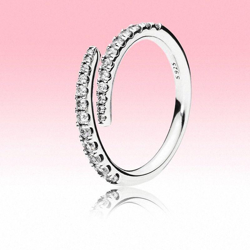 De nouvelles lignes Sparkle Bague CZ diamant Anneaux ouverts Femmes Bijoux Pandora 925 Argent Massif anneau de mariage avec la boîte originale T80I #