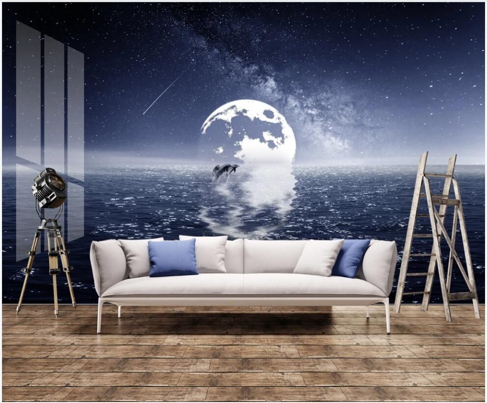 3d mural fotográfico de encargo del papel pintado en la pared murales moderna delfines paisaje marino y luna reflejada en casa decoración de la pared del papel pintado 3D para la sala