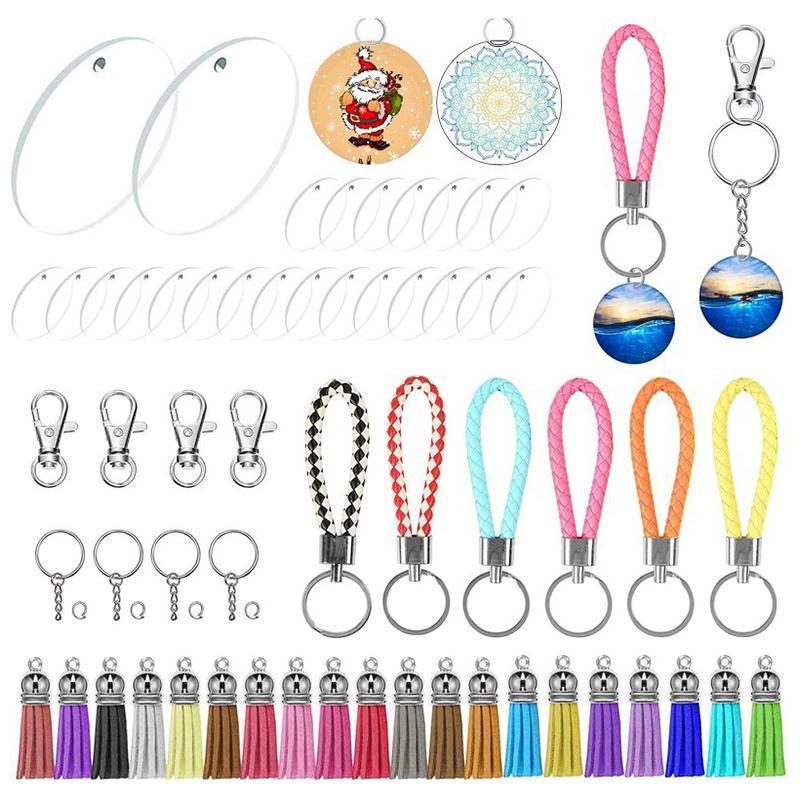 Acrylic DIY Key Chain Blank, 24 Transparent Disc Key Chain Blank Tassel Clasp DIY Project Creative Craft Children Adult