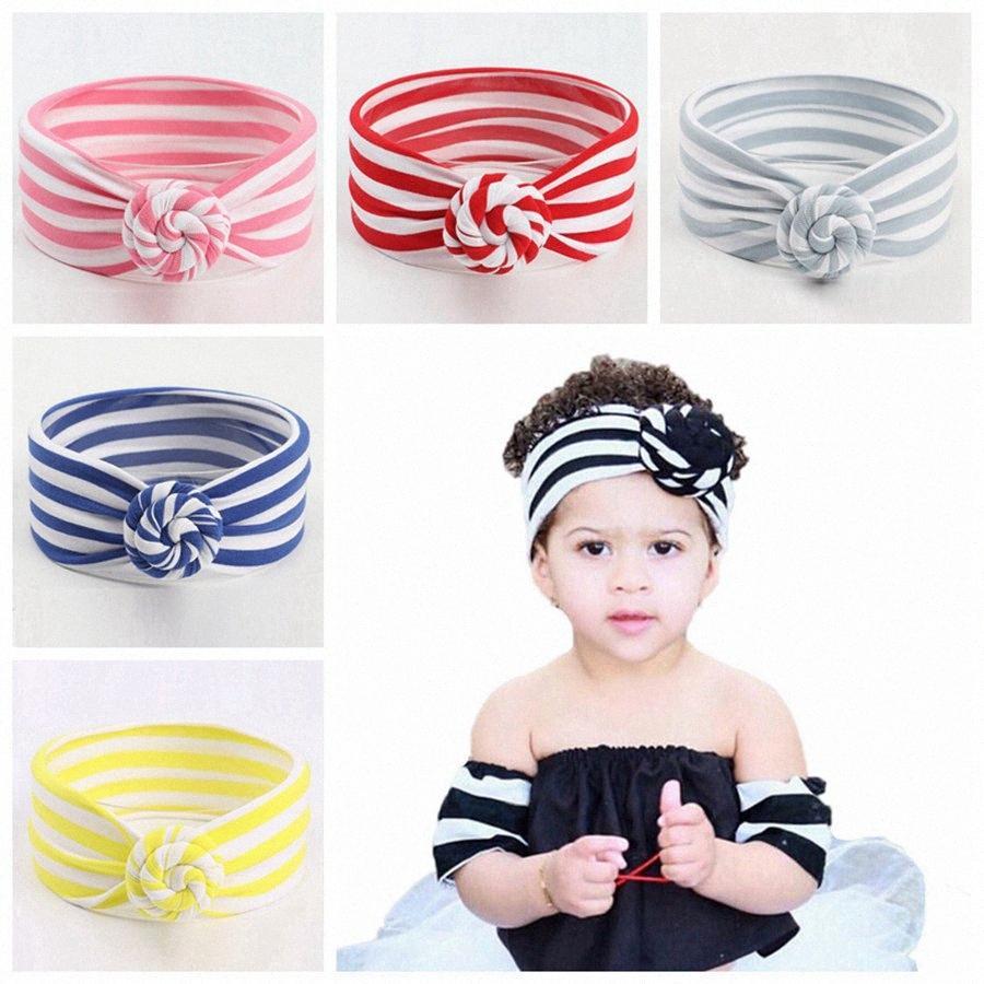 8 Renkler Sevimli Bebek Çizgili Knot Kafa Kız Headwraps Turban Bantlar Bebek Bandana Hairband Phtography Dikmeler Parti Favor RRA308 PLtD #