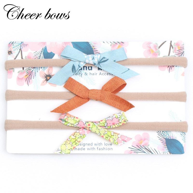 3 PC / Satz-Druck-Bogen Tie Stirnband Velvet Dots Blüte Bands mit Nylon Elastic für Kinder Mädchen-Geschenk Kopfbedeckung Haarschmuck