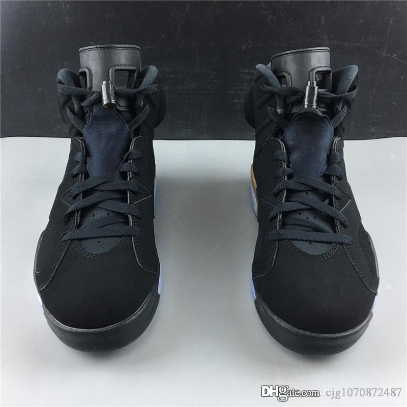 Hava Otantik 6 DMP tanımlanması Moment Siyah Retro Adam Basketbol Ayakkabı Siyah Nubuk Üst Metalik Altın 6S Spor Sneakers CT4954-007