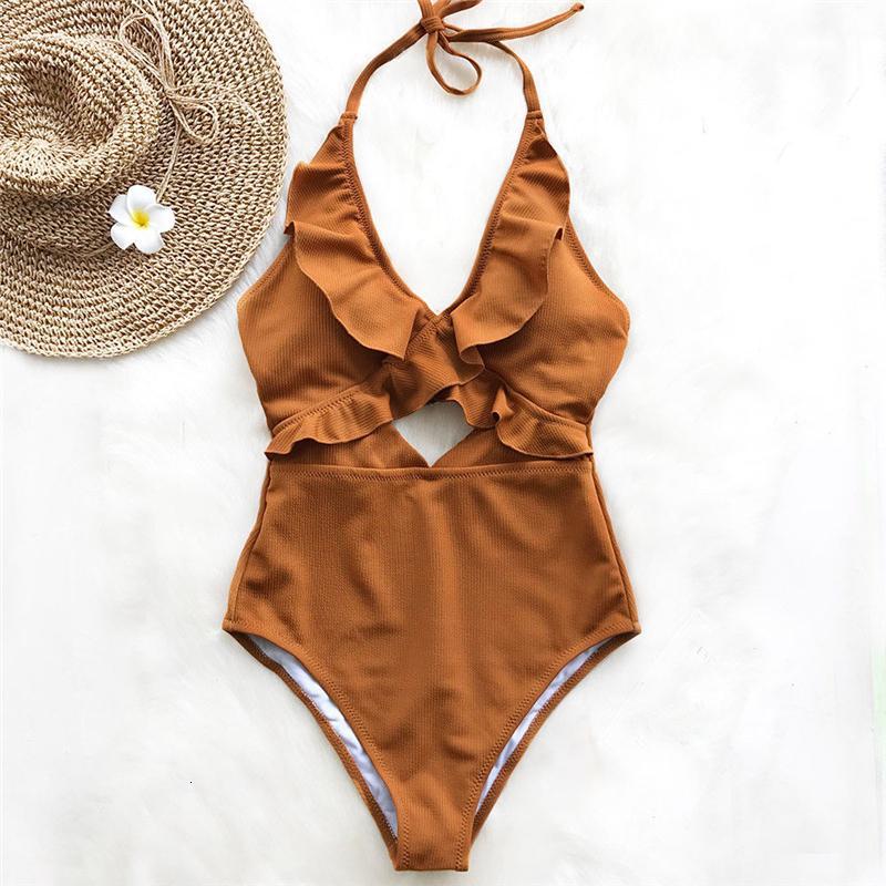 Fırfır Backless Mayo Kadınlar One Piece Mayo yastıklı Mayo Bayanlar Beachwear tek parça bikini Maillot De Bain