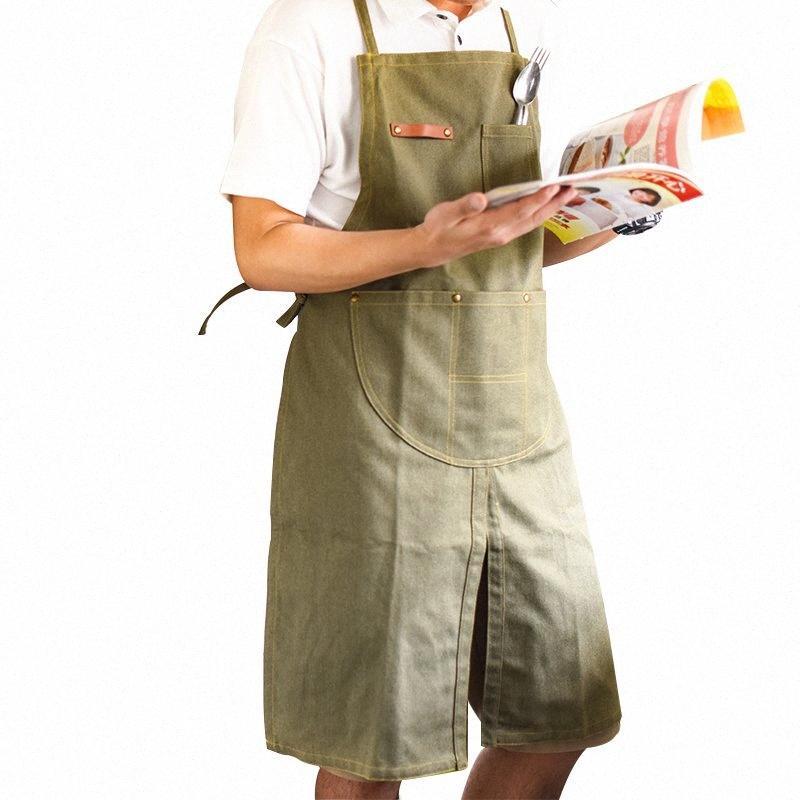 2018 Tabliers toile chaud vente coton vert Cowboy Cafe uniforme unisexe tabliers pour femme Hommes CUISINES Waiter cuisine Pinafore n9c7 #