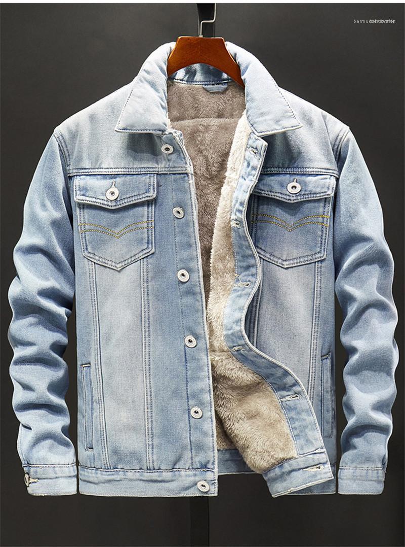 Los machos Street Style Sobrepasa del diseñador del Mens Denim botón de la chaqueta de la mosca adolescentes de solapa cuello de bolsillo Coats informal