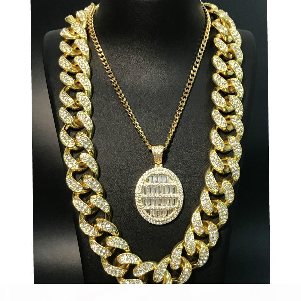 Männer Halskette Hip Hop-Goldsplitter gefror heraus Kristall Miami Cuban Kompass Felsen 2cm Anhänger Bling Rapper Männer Schmuck Street Dance