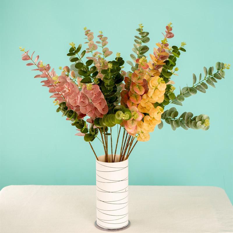 1 Parte verde Simulação Eucalipto Filial Artificial Eucalyptus Folha plantas coloridas casamento tiro Prop Home Decor xx152