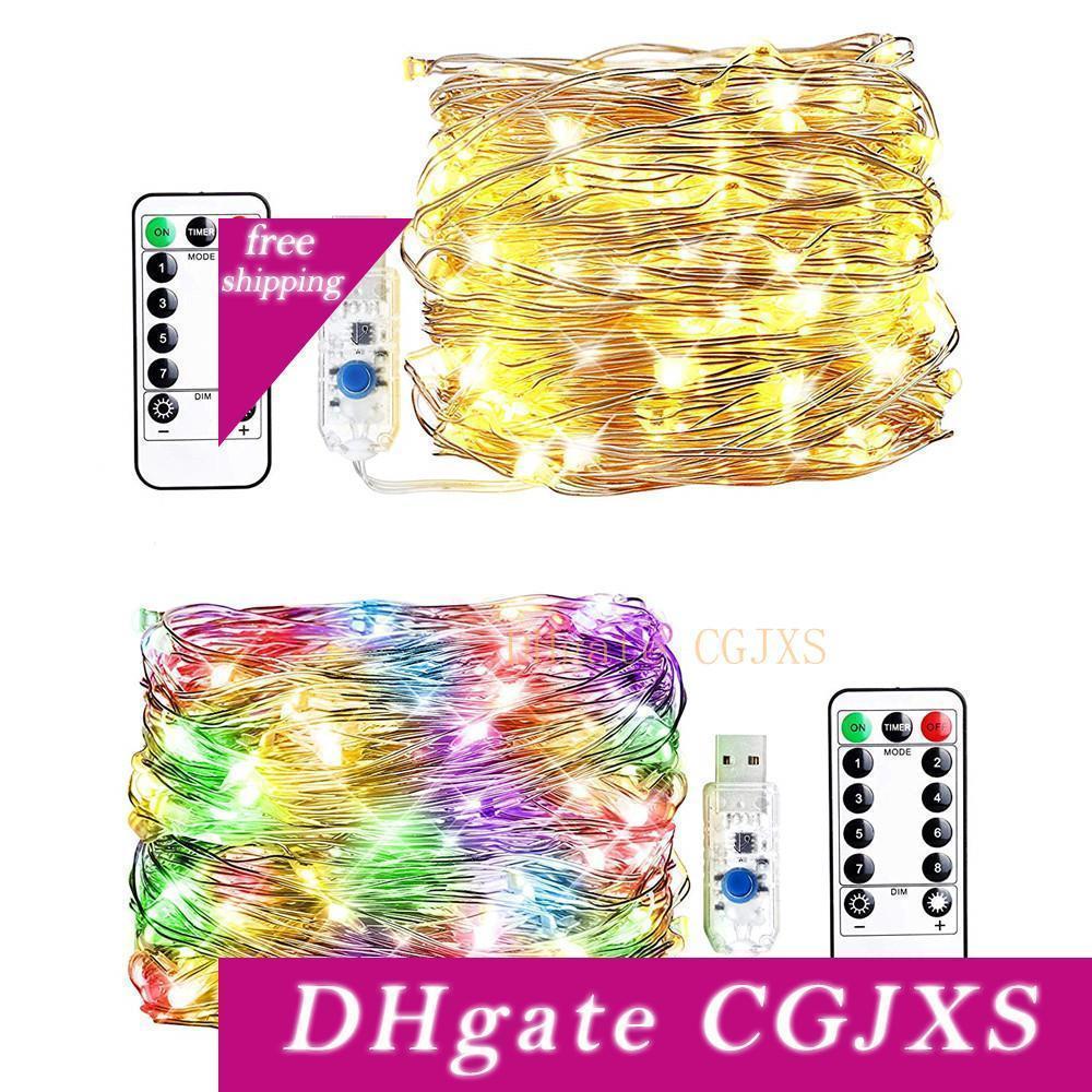 50led 100 USB LED 200led Plug In fadas Luzes Cordas 8 modos pode ser escurecido fio de cobre luzes com controle remoto cintilação ilumina para o quarto Pátio partido