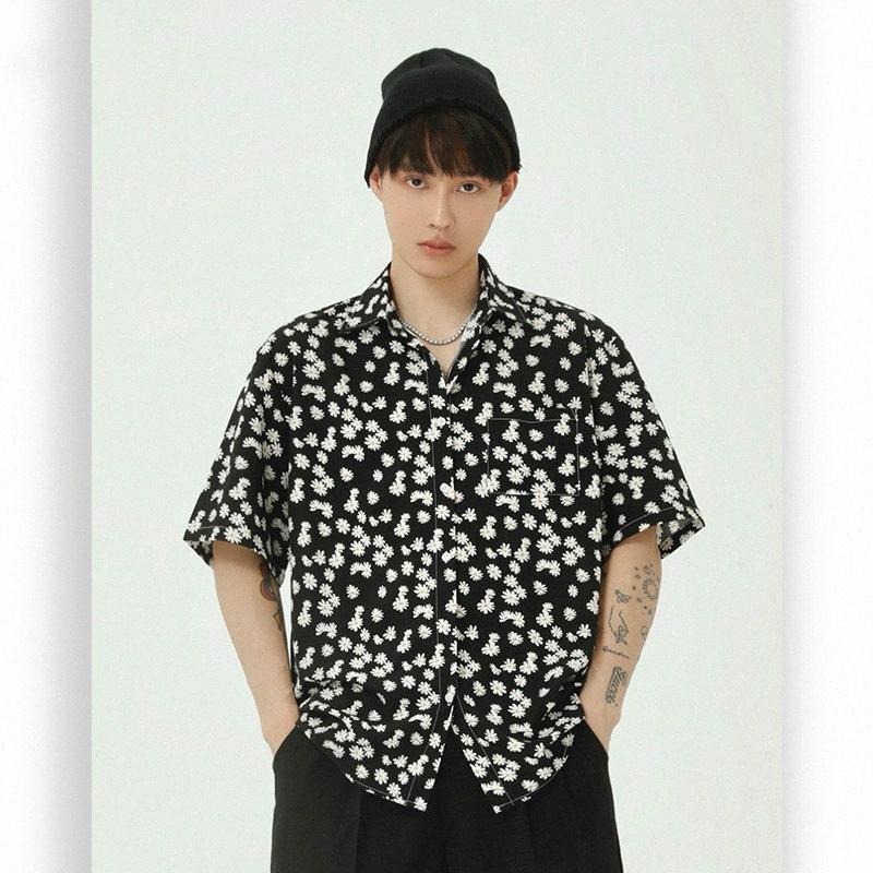 Casual hombres de manga corta de verano flor de la playa camisa masculina Japón Corea Streetwear Hip Hop suelta la manera de la vendimia Camisa UiwX #