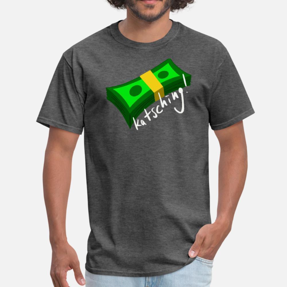 Katsching Lucro do dinheiro do negócio Logo Motivação camisa de homens de impressão manga curta em torno de roupas Camisa padrão autêntico bonito Collar