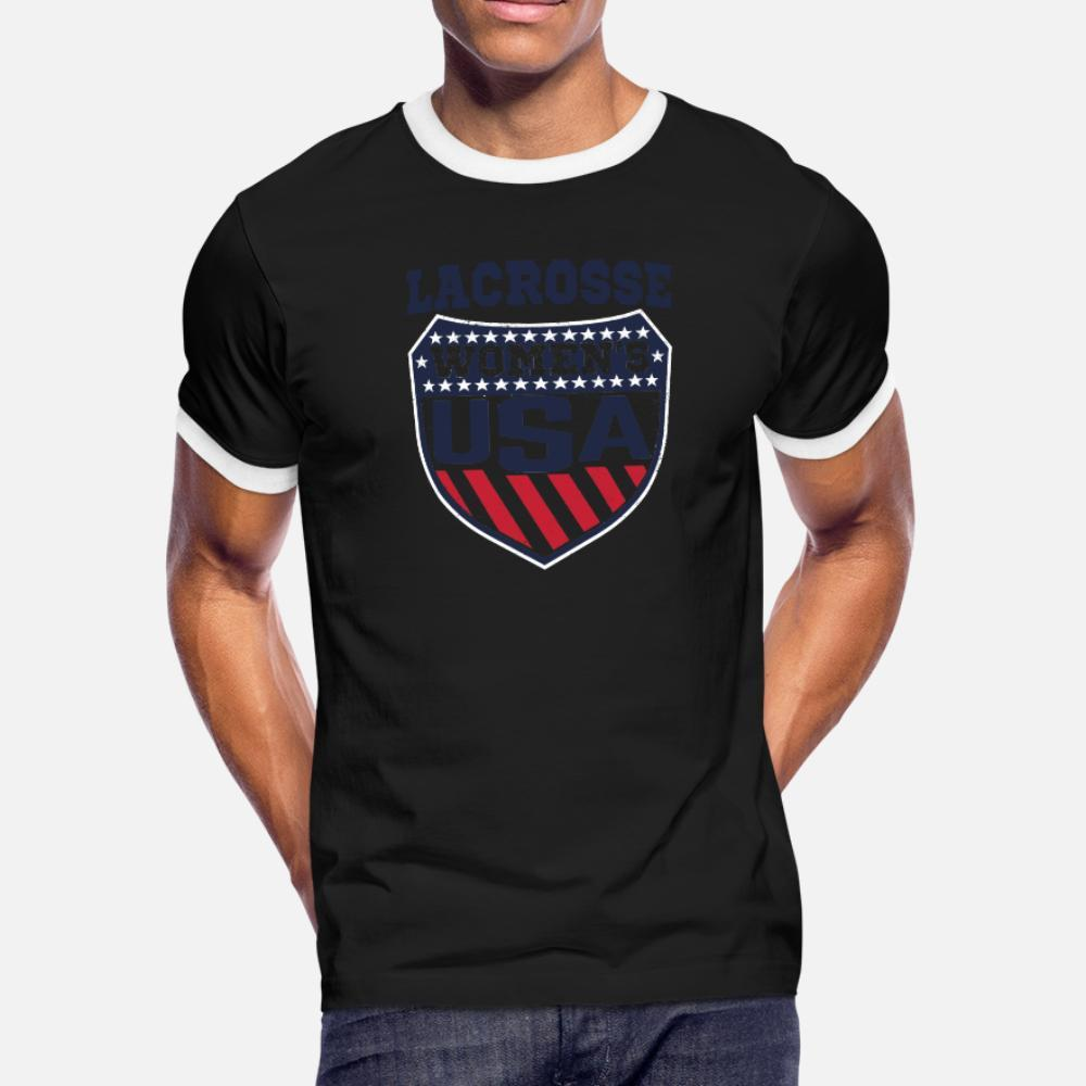 la camisa del cuello de equipo de época famosas Humor primavera normal otoño EE.UU. Mujeres S LaCrosse Escudo Mujer Lax hombres de la camiseta de manga corta personalizada