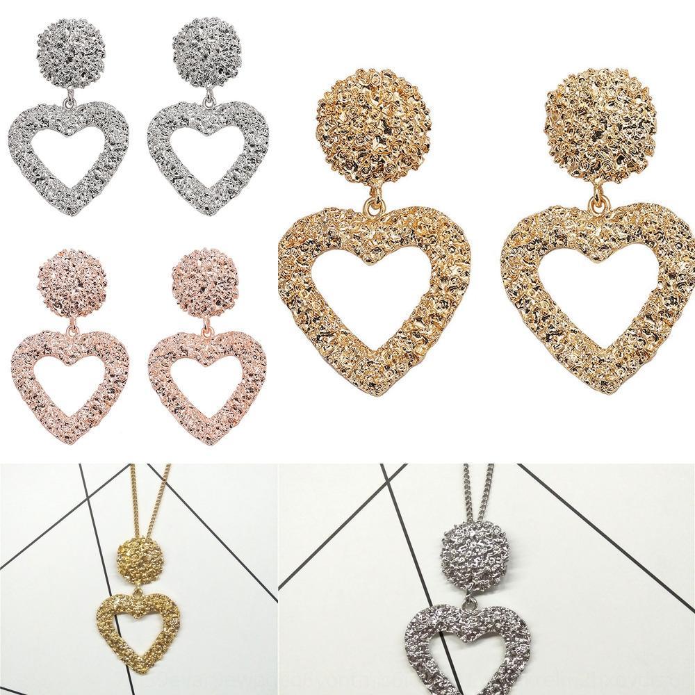 pendientes en forma de corazón exagerados Caliente-venta y exagerada en forma de corazón de flores de metal repujado en caliente venta y estampados de flores de metal de car