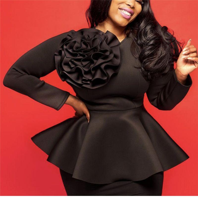 Women Black Blouses Tops Shirts Long Sleeves Front Big Flower Peplum Slim Autumn Party Fashion Elegant Lady Bluas Drop Shipping Y200828