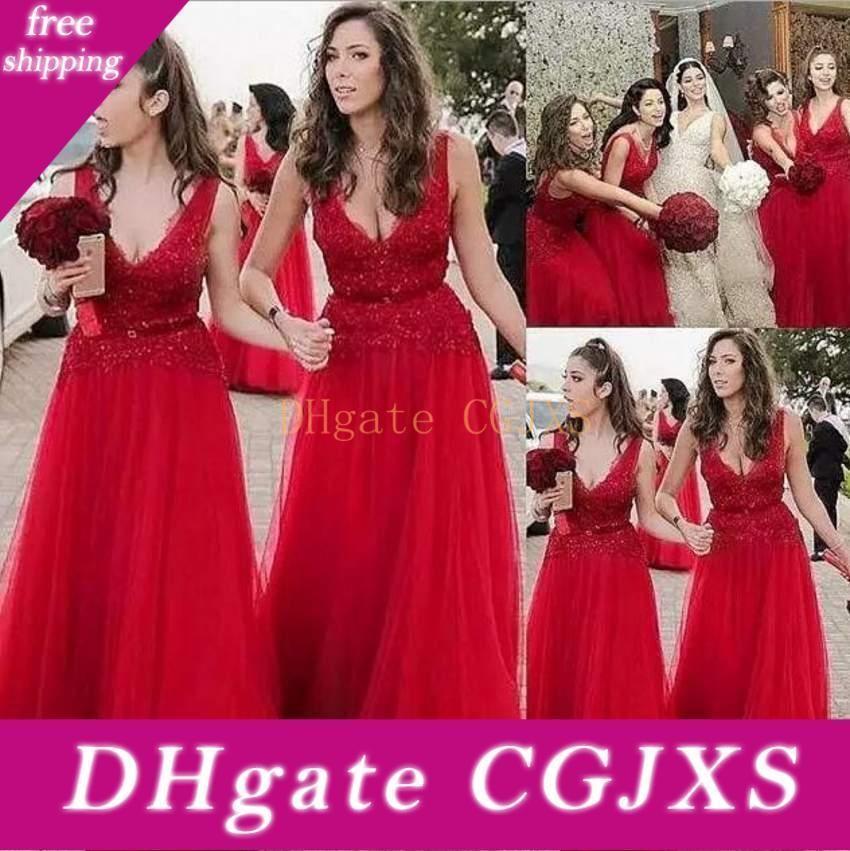 Vestido de fiesta apliques de perlas Una Parte Línea de tul rojo de dama de honor vestidos de cuello en V vestido de encaje de la longitud del piso de la venta caliente por encargo de la boda