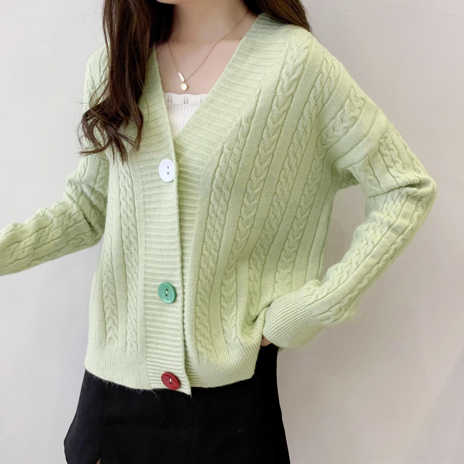 Xia Xin 2020 suéter colorfashion estilo occidental estilo coreano primavera y otoño suéter nuevo giro de la rebeca de las mujeres suelta todo a juego pequeño C