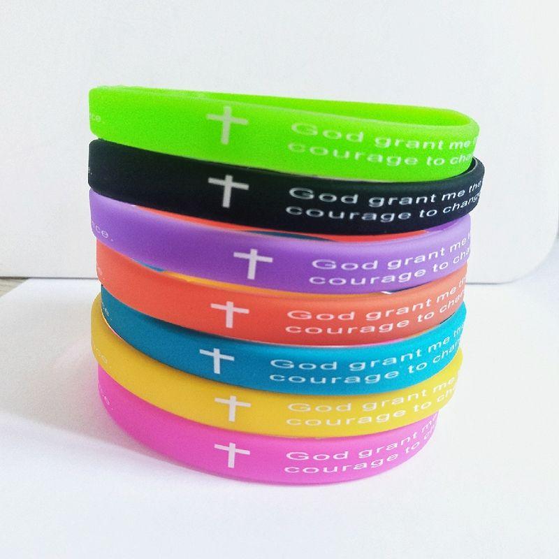 50pcs cruz jesus Bíblia Cristianismo Oração pulseiras cristãos pulseiras Verso banda de silicone presentes apresentar para crianças mulheres