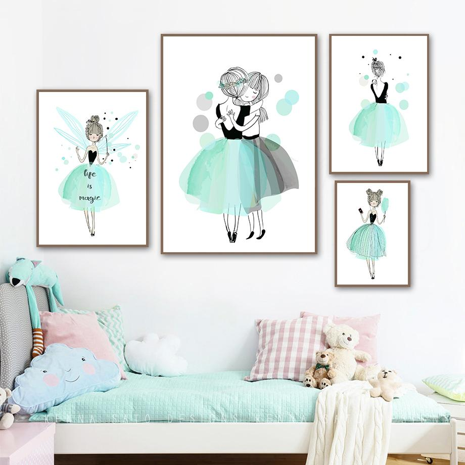 2021 Blue Dress Ballet Girl Nursery Canvas Painting Kids Poster Nordic Posters And Prints Wall Art Painting Baby Room Decor Pictures From Goodcomfortable 3 59 Dhgate Com
