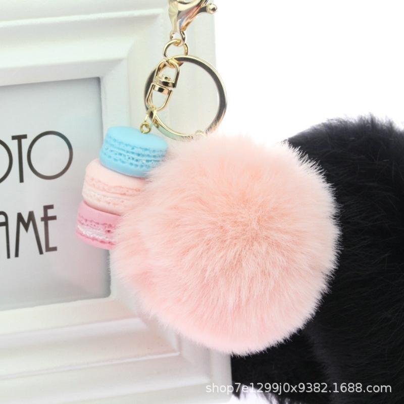 2020 سلاسل الأزياء منفوش الفراء شدة الورد الكرة الحلي بوم بوم فرو الأرنب الكرة مفتاح المرأة السيارة حقيبة Trtinket