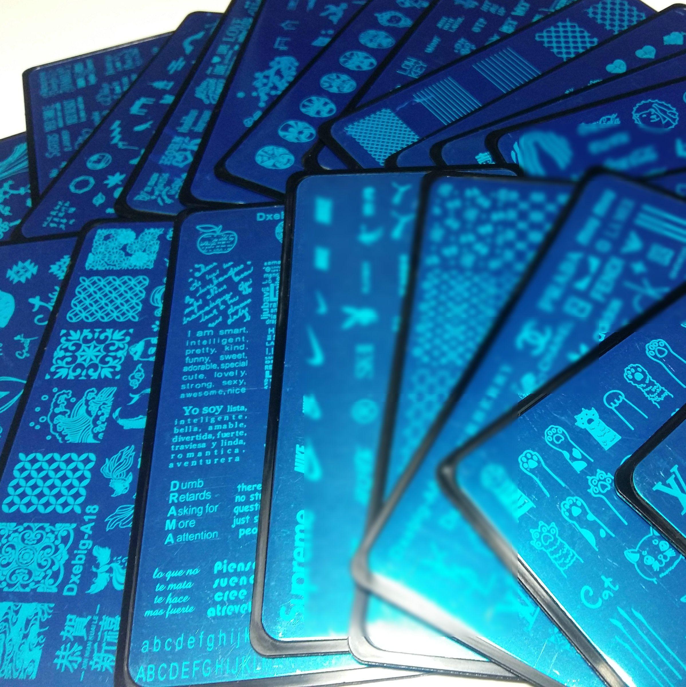 NEW 20x LOGO Marke Kitty Cat China im chinesischen Stil Worte Design Nagel-Kunst-Platten-Stempel Stamping Übertragung polnische Druckvorlage DIY