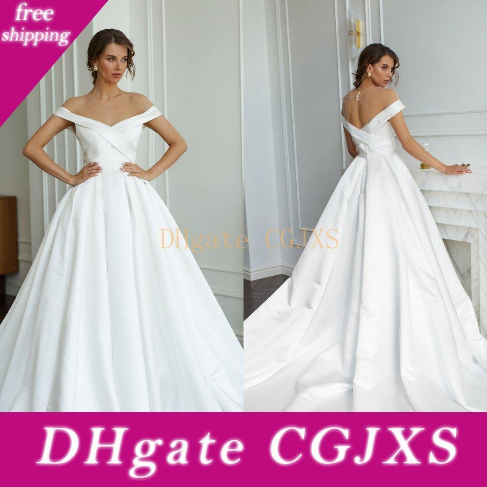 Georges Hobeika 2020 vestidos de casamento Jewel manga curta Lace Satin vestidos de noiva oco Voltar Trem da varredura Bohemian Um vestido de casamento da Linha