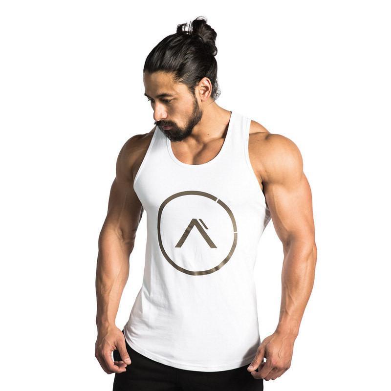 Spor Salonları Spor Tank Erkekler Vücut Geliştirme Kolsuz Gömlek Erkek Stringer Atlet Yaz Casual Baskı Yelek Siyah Egzersiz Giyim MX200815 başında