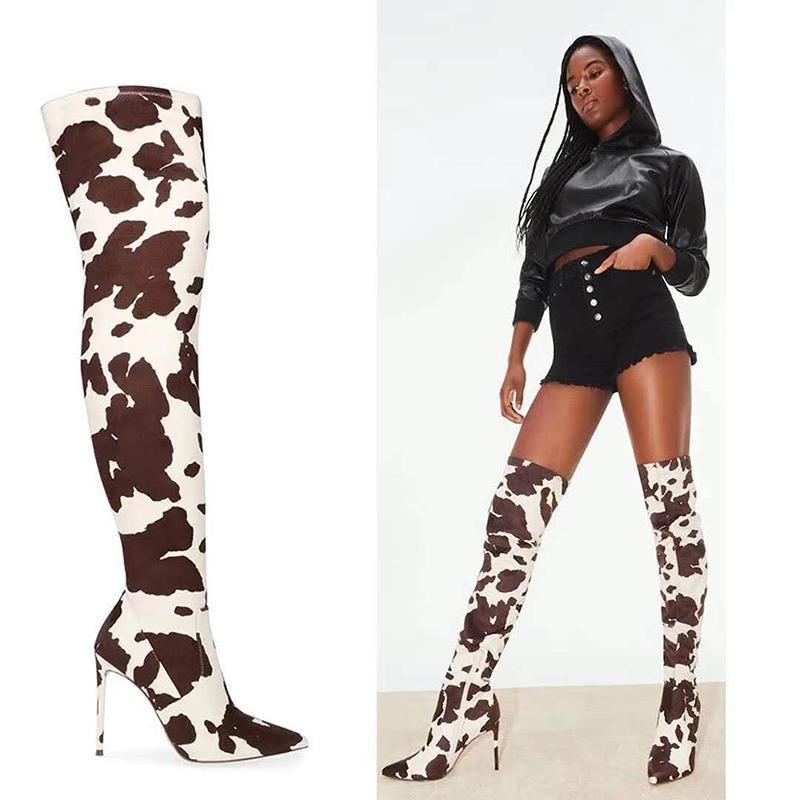 슬관절 부츠 암소 이상 여성 부츠 PU Leathrt 섹시한 하이힐 지퍼 가을 얇은 발 뒤꿈치 여성 신발 플러스 사이즈 35-43 인쇄하기