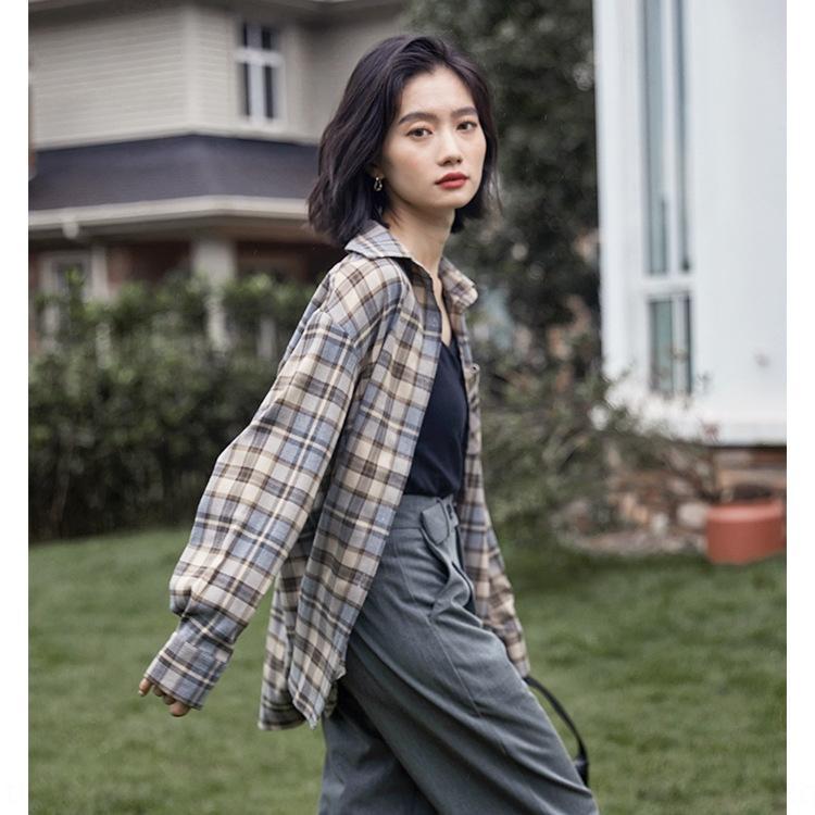 YlRN1 Plaid der Frauen 2020 Herbst New lose Plaid faul koreanische Art Hong Kong Stil lange Ärmel Mantel Mantel Shirt shirt