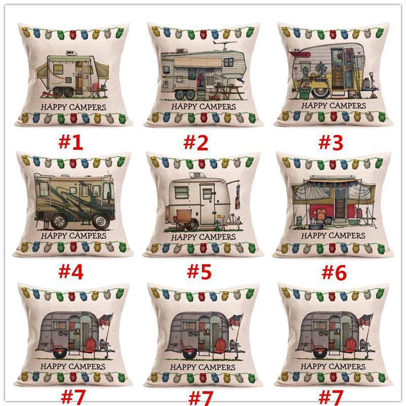 Cartón feliz campistas Motor Home Funda de almohada cubierta del amortiguador de lino de algodón de banda de almohada del sofá de techo decorativo Pillowcover