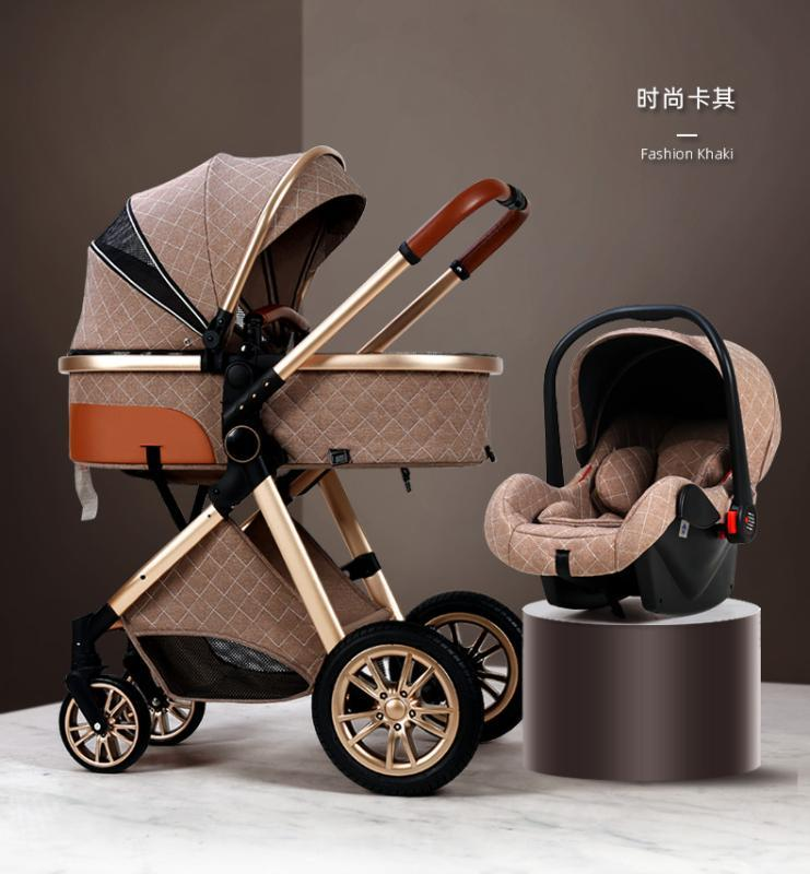 2020 Nouveau bébé poussette 3 en 1 poussette de paysage élevée inclinable chariot de bébé lampe pliable avec bassinet Cradel
