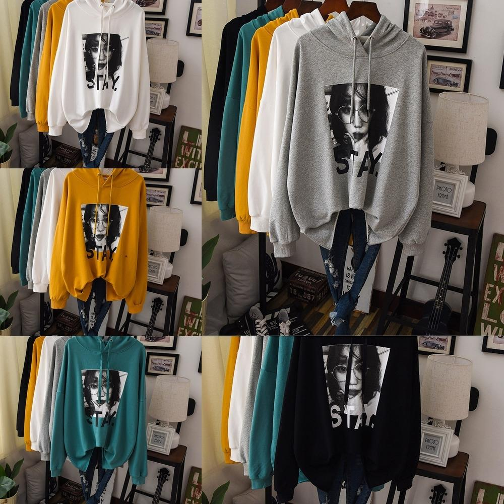 suéter aUdiq sUSKb del suéter de las mujeres del otoño 2019 estilo perezoso larga con capucha Europea bf manga floja estilo coreano nuevo jersey de retrato jersey t