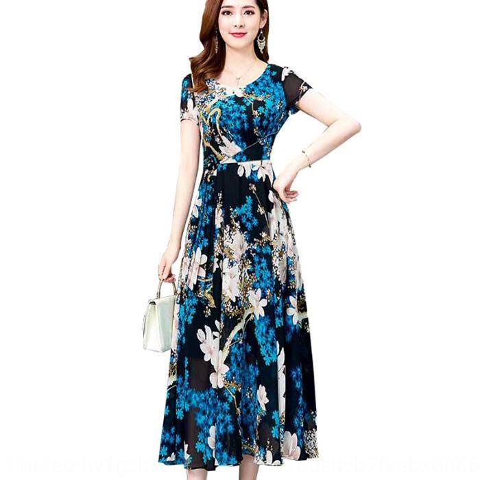 vestido de falda larga falda a media pierna verano 2020 nuevo y elegante de alta gama amplia de estilo occidental Señora elegante vestido noble dama
