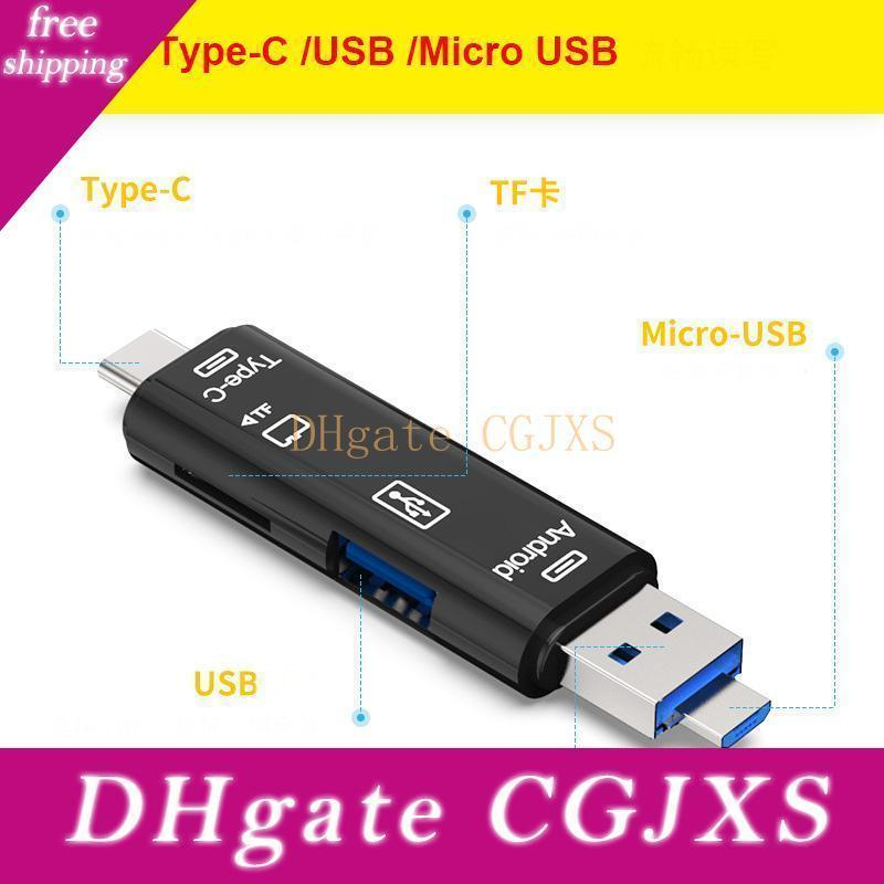 3 In 1 Type -C Micro Usb Otg Card Reader Flash Drive High -Speed Usb2 .0 Universal Tf /Sd Card For Phone Computer Extension Headers