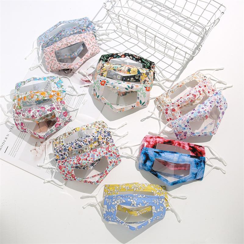 Máscaras Flor Lip Idioma Respirador Rosto PVC transparente Moda laváveis Mascherine Para Deaf Mute Crianças reutilizável 6 6xl C2