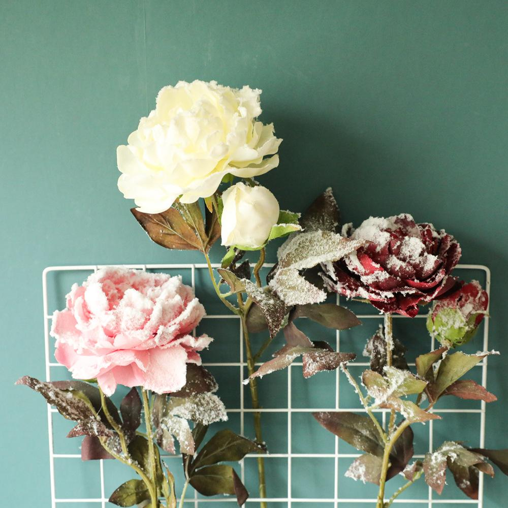 3pcs Simulation neige artificielle Pivoine fleur pour la maison Décoration de Noël Décoration de mariage de mur de fleur de fond Faux Pivoines