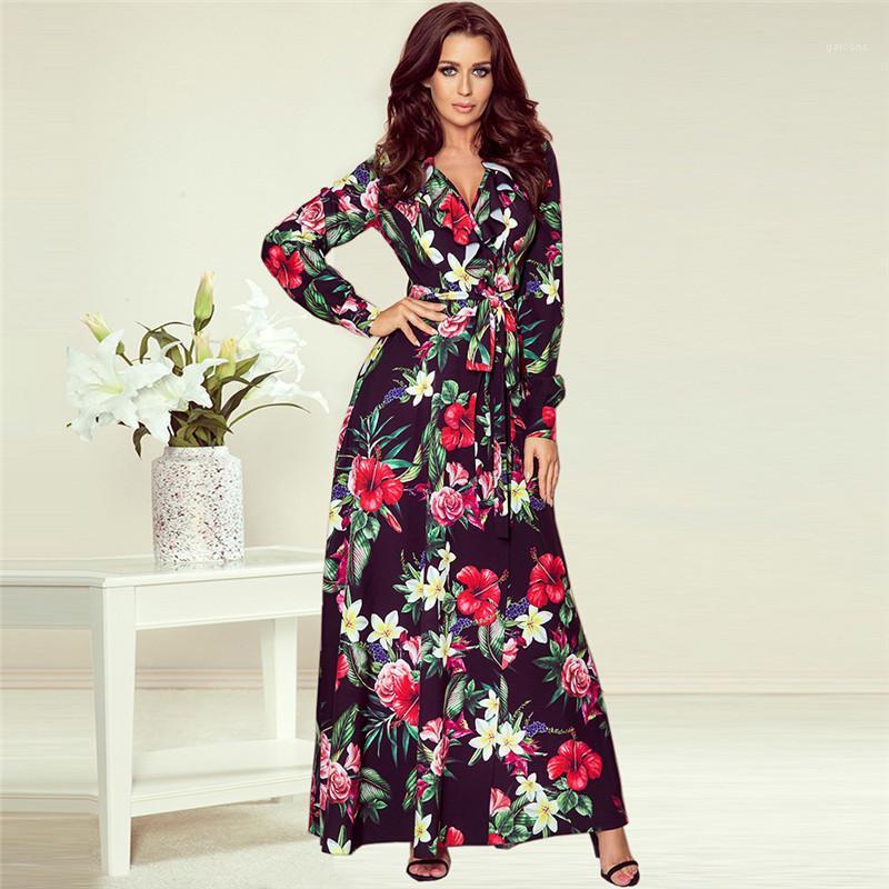 Elbise Çiçek Baskılı V Yaka Uzun Kollu A Hattı Elbise Günlük Kadın Giyim Sonbahar Kış Bayan Tasarımcı