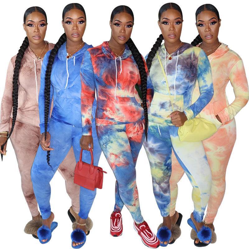 Women High Street Vintage Tie-Dyed Print Hoodie Women Sweatshirt And Jogging Trousers Women Pants Two Pieces Set