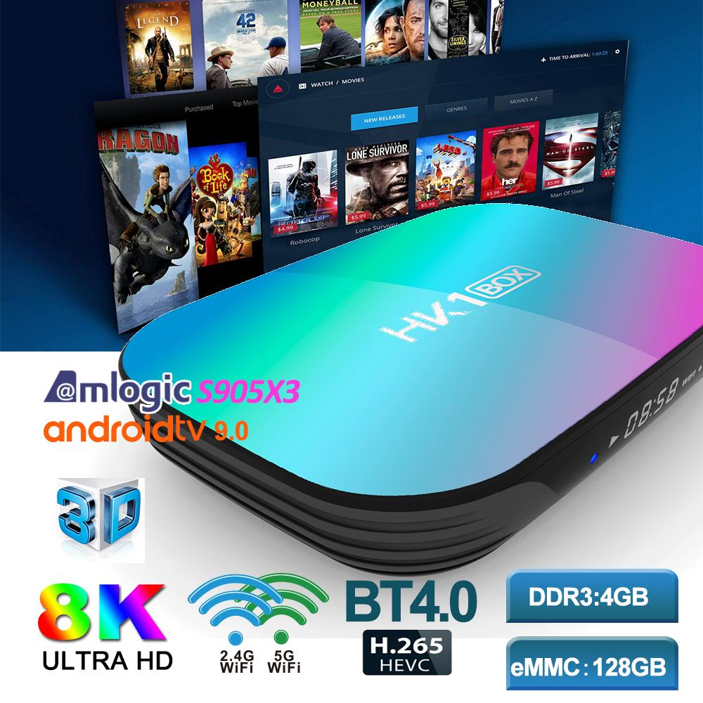 HK1 Android TV Box Amlogic S905X3 quad core 4+128GB Android 9.0 TV Box Support Smart TV Bluetooth 5.0 Dual WiFi