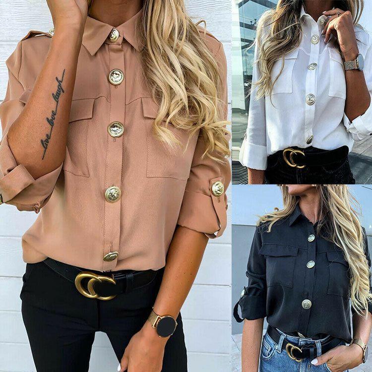 Урожай с длинным рукавом карман рубашки для женщин Осень Топы Блуза Turn воротник Хаки Белый Черный Рубашка Мода Женский Blusas
